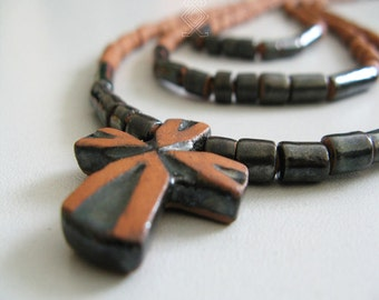 Ceramic necklace in traditonal Ukrainian style with pectoral cross