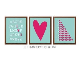 INSTANT DOWNLOAD Girls Room Wall Art Set of 3 Prints•Love Heart•Alphabet•Numbers•Digital File•8x10 Digital Poster-Pink Aqua Nursery