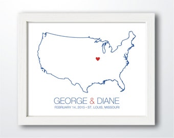 United States - Modern Style Personalized Map Art Print - Custom Map, Wedding gift, Engagement gift, Wedding guest signature print