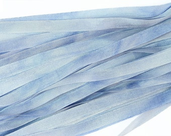 100% Pure 7mm Silk Ribbon Hand Dyed Blue Love in a Mist - 3mtr/3.28yd