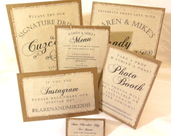 Rustic Burlap Fabric Wedding Sign Package - Rustic Wedding Signs - Table top Signs