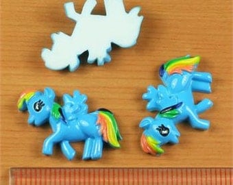 2/3/5 My Little Pony Rainbow Dash Resin Flat back Cabochon Hair Bow Center
