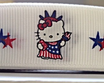 "3 or 5 yard - 7/8"" Kitty Cat Patriotic Statue Of Liberty Grosgrain Ribbon Hair bow"