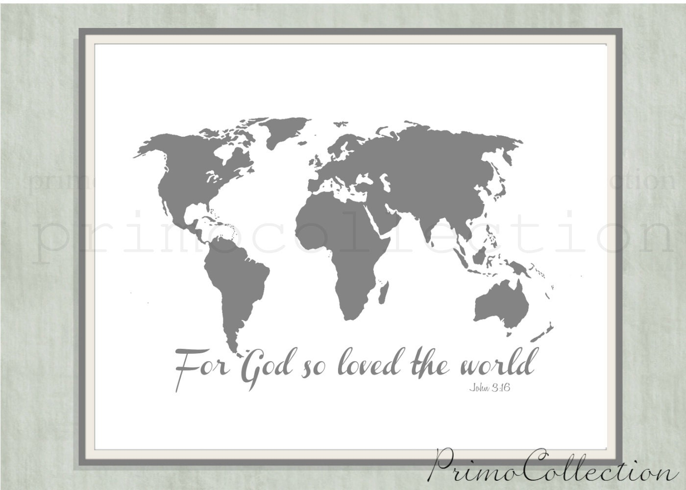 for god so loved the world map of the world wall art print