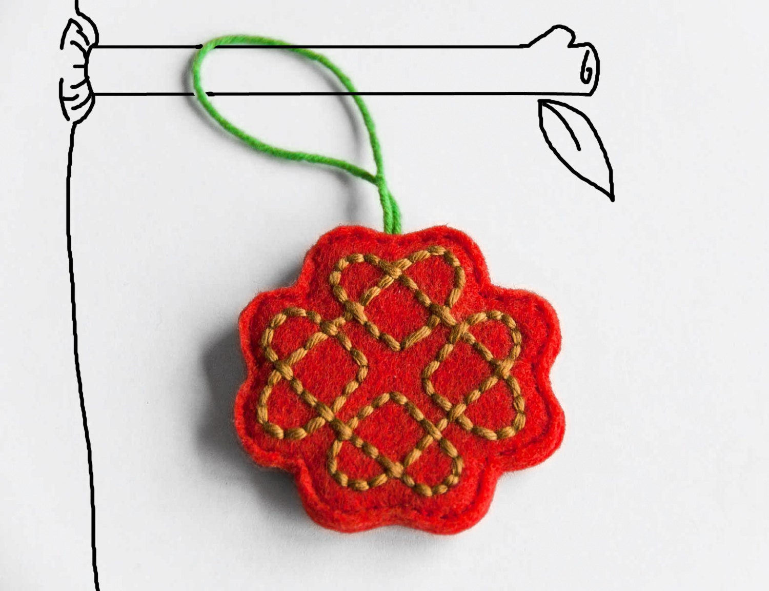 Valentine gift topping ornament embroidered love knot