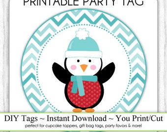 Instant Download - Blue Chevron Christmas Penguin Printable Party Tags, Cupcake Topper, DIY, You Print, You Cut
