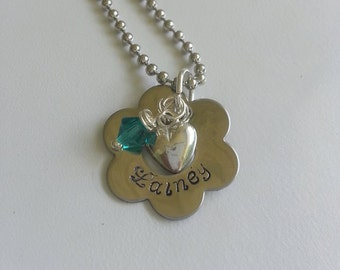 Hand Stamped Flower Petal with Heart and Stone charms