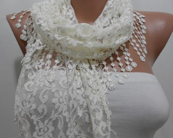 Weddings Bridal Scarf Ivory Lace Scarf Shawl  Cream Wedding Scarf Mothers Day Bridemaids Gift ideas For Her Gift for Mom Gift Wrap
