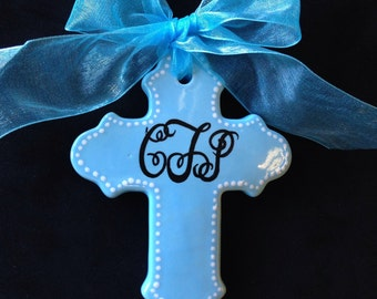 Personalized Baptism Cross Ornament- Baptism, Christening, Easter or Baby Shower Gift