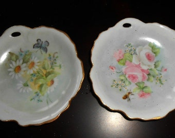 Two Vintage, Porcelain, Utility Dishes, Pink, White, Green