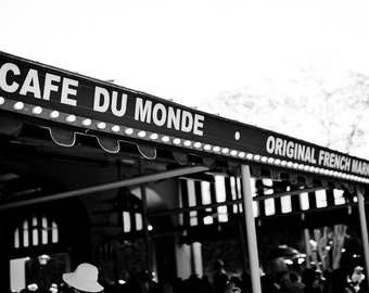 New Orleans French Quarter Black and White Photograph, Cafe Du Monde, Architecture