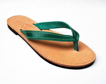 Leather Sandal for Women, Green Flip Flops