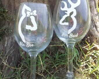 Her Buck His Doe Deer head wine glasses