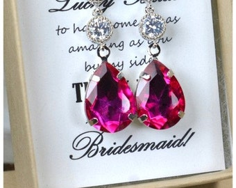 Wedding Jewelry Bridesmaid Gift Bridesmaid Jewelry Bridal Jewelry pink fuchsia pink Drop dangle cubic Earrings, ruby fuchsia,bridesmaid gift