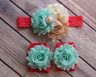 SET Sandals- headband ivory/ nude/ aqua /watermelon lace baby barefoot shabby chic flower sandals & shabby chic  newborn- toddler