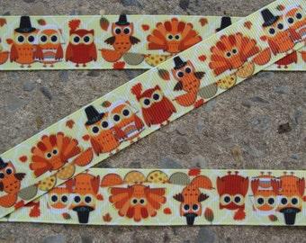 """3 yardsTurkey Ribbon Thanksgiving Ribbon Printed Ribbon 7/8"""" Hair Bow Ribbon Glittery ribbon"""