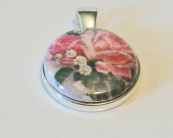 Unique Vintage Style Botanical Illustration Pink Roses Round Silver Pendant
