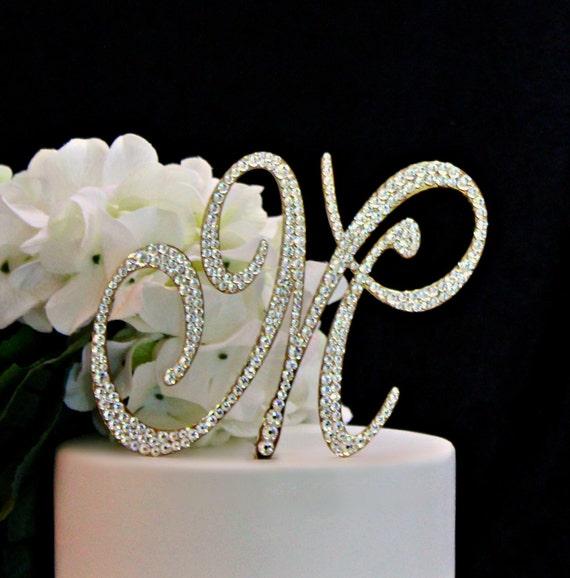 Gold Monogram Wedding Cake Topper Gold Initial Cake Topper