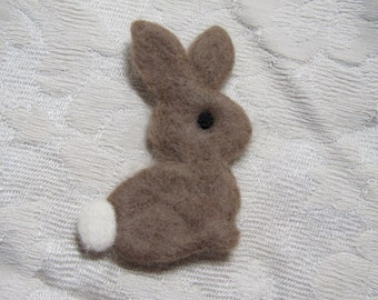 Needle Felted Easter Bunny Pin - Brown