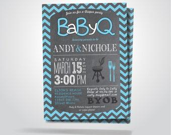 BaByQ - BBQ Baby Shower Invitation / Baby Boy - Girl / DIY / Pink-Gray, Blue-Gray Chevron Chalkboard Printable Invitation
