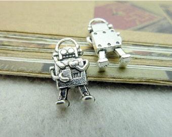 15pcs 10x17mm Antique Silver Mini Robot Charms Pendant Mechanic Charms Connector
