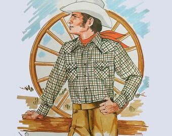 1970s Mens Pattern / Vintage Mens Sewing Pattern / 70s Mens Western Shirt Pattern Kwik Sew Pattern 457 Chest 36 38 40 Vintage Sewing Pattern