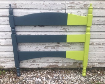 Color blocked neon green and grey headboard upcycled solid wood headboard