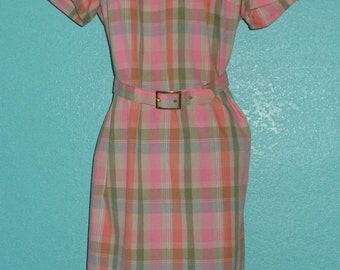 "60s Vintage ""Betty Hartford"" Plus Size Plaid Day Dress — Excellent Condition!"