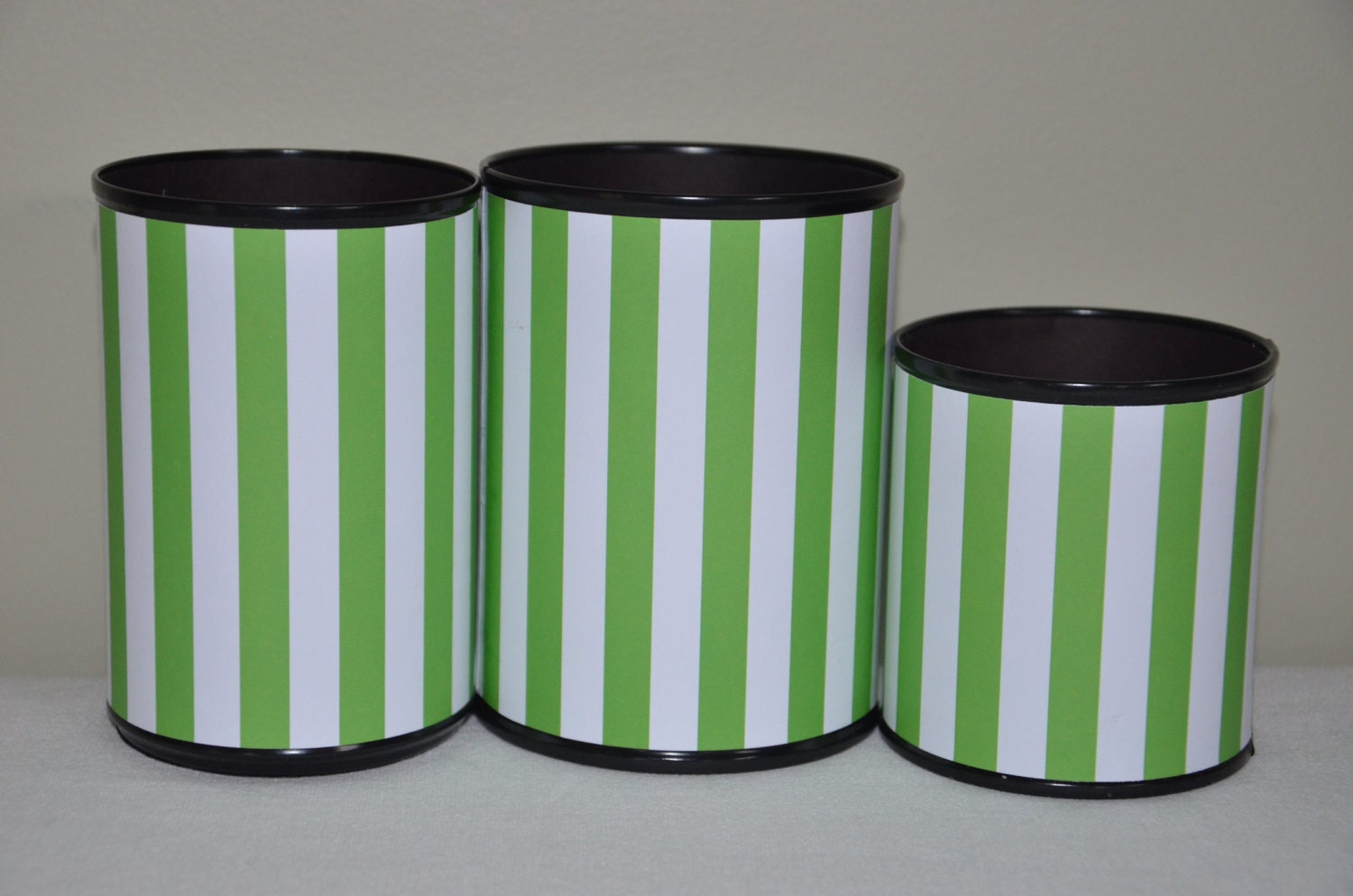 Handmade Pencil Holder Set Green And White Stripes Gifts For