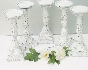 Set of  10 Pillar Candle HolderWhite Satin Wedding Candles Shabby Home Decor