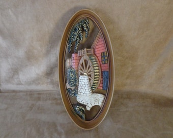 Vintage Burwood Wall Hanging, 1965 NO. 4332, Mill Wheel Scene