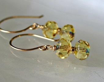 Czech glass drop earrings, yellow earrings, Czech glass jewelry, Summer earrings, yellow glass earrings, 14k gold fill French hook ear wires