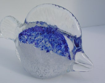 Blue and White Fish Shaped Glass Paperweight