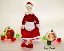 "Mrs. Claus. Tilda Doll. Christmas Cloth Doll. Handmade, high 17,7"" (45cm)"