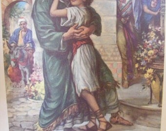 Vintage 1939 Lithograph  Child Healed by Jesus Hugs Father Religious Print Christian Buy 2 get 1 Free