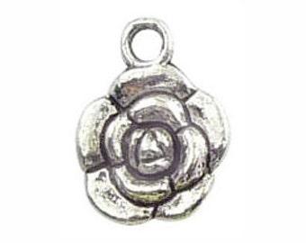 BULK 50 Silver Rose Charm Flower Pendant 17x12mm by TIJC SP0175B