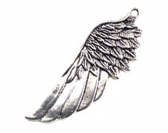 2 Silver Angel Wing Charm Extra Large 58x22mm by TIJC SP0270
