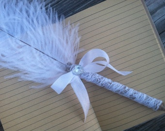 Rustic feather wedding pen, guest book pens, Jude pens, rustic pens