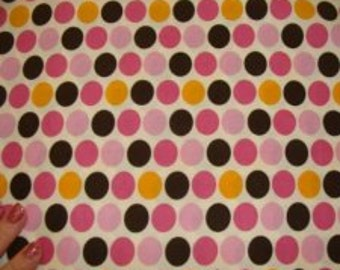 Pinks, browns and Gold Polkadots on Cotton Fabric BTY