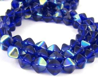 Cobalt AB 6mm Bicone Czech Glass Beads 50pc #514