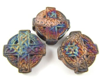 Celtic Cross Ceramic Matte Raku Pendant 26mm #4