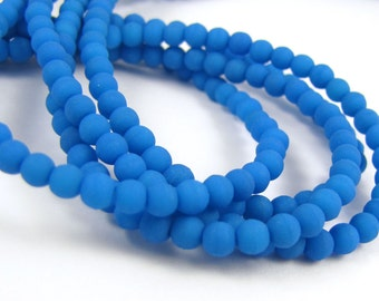 Matte Neon Electric Blue 3mm  Round Czech Glass  Beads 100pc #2221