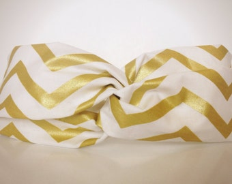 Gold Chevron Turban Twist Headband
