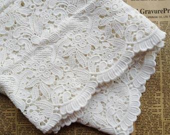 Off-White Lace Trim, Cotton Lace Fabric, Vintage Hollowed Lace Trim, Wide Cotton Lace