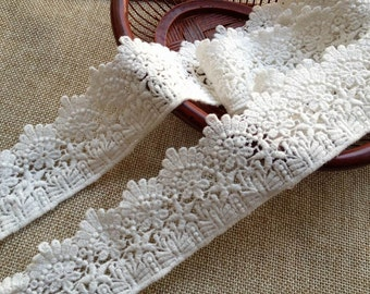 Off White Embroidery Lace, Cotton Lace Trim, Retro Lace Trim, 1.77 inches wide 2 yards