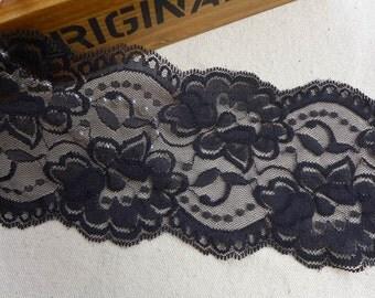 """BLACK Stretch Lace, Rose Elastic Lace Trim, Black Scalloped Stretch Lace Trim, 3.74"""" wide 2 Yards"""