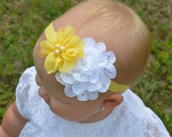 White Eyelet flower paired with a Yellow Pearl Flower Headband, baby headband, newborn headband, hair bow