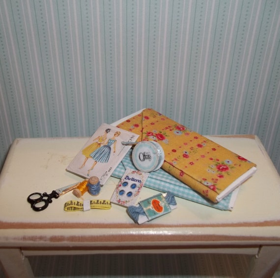 Dollhouse Miniature Sewing Set 3 - Blue & Yellow