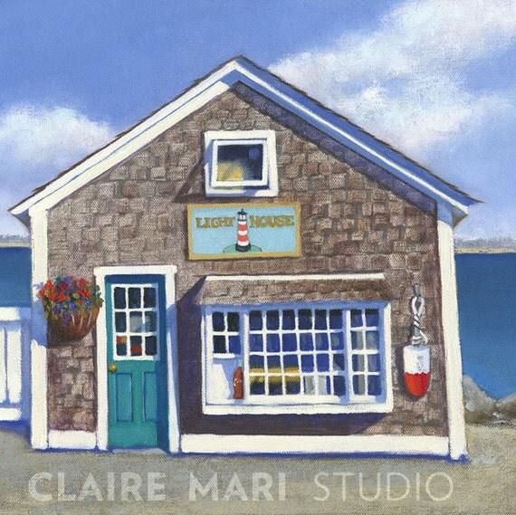 Block island coastal cottage nautical bungalow art print for Block island cottage