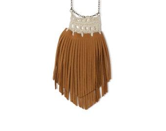 Crochet Fringe Leather Necklace